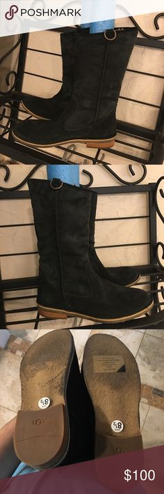 Ugg Daphne Black Suede Boots 8.5 Ugg Daphne Black Suede Pull on Boots Size 8.5. These are brand new but are a floor sample. Only thing is the vulcanizEd Rubber has changed just from trying on. UGG Shoes Winter & Rain Boots