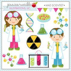 Mad Scientist Cute Clipart, Scientist Kids, Science Clip art, Scientist Graphics, Kids in Lab Coats, Test Tube, DNA, Molecule Graphics