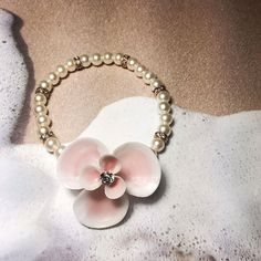 Pink Crystal Seaflower Seashell Pearl Wrist Corsage Bracelet by ShellScapes