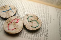 Embroidered Wood Pendant by SticksAndTomes $15.00 @TheCraftStar #monogram #embroidered #initial #personalized #wood #ecofriendly #bridesmaid #rustic #wedding