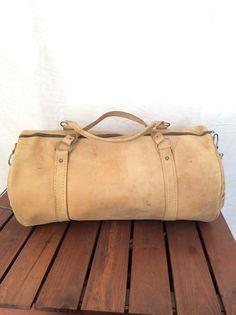 Distressed Large Vintage Genuine Tan Leather Duffle Bag Travel Luggage Over Night Bag