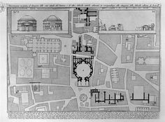 Demonstration in plan and elevation of the current state of the Pantheon and other ancient buildings adjacent by Giovanni Battista Piranesi. Neoclassicism. design