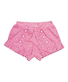 This Pink Polka Dot Woven Shorts - Infant, Toddler & Girls is perfect! #zulilyfinds