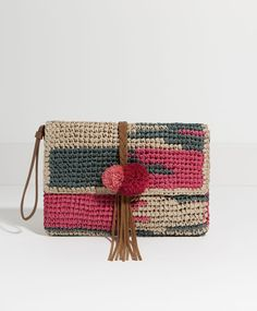 Little painted raffia bag - BEACH.