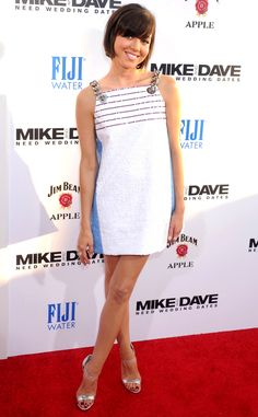 Aubrey Plaza in a white chain-strap minidress