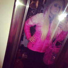 Blonde barbie loving my new pink ombré coat