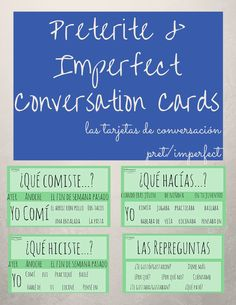 Get your kids talking Spanish and help them overcome their fears of speaking (especially in the past tense). Use these (18) preterite & imperfect conversation cards to help students ask questions and give hints to their classmates if they are needing help!