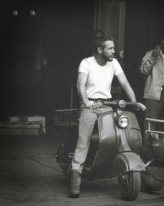 Paul on a moped.