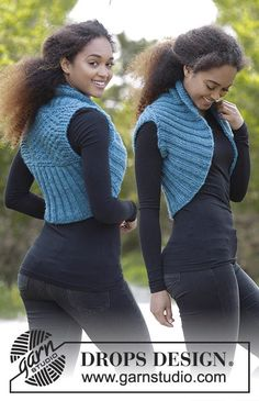 Gilet sans manches en point texturé et côtes. Du S au XXXL. Se tricote en DROPS Andes.