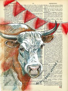 Triangle : illustration friday Red rag to a bull - don't turn around! Old Book Art, Old Books, Decoupage Printables, Music Page, Dictionary Art, Moose Art, Weird, Triangle, Paper