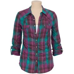 Ruched 2 Pocket Plaid Shirt (£16) ❤ liked on Polyvore featuring tops, plaid, shirts, roll sleeve shirt, plaid shirt, purple top, long shirts and long plaid shirt