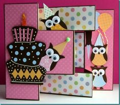 Adorable Tri Fold owls- includes instructions this time cards