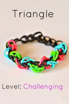 triangle rainbow loom: dont get how its challenging, but its cool for a begginer bracelet.