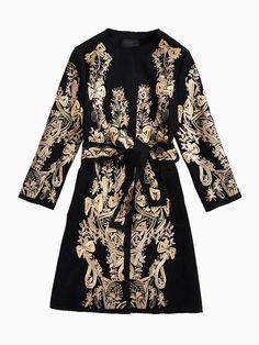 Baroque Pattern Coat With Tie Waist | Choies