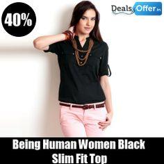Being Human Women Black Slim Fit Top @ 40% Off