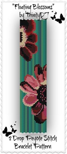 "New 2 Drop Peyote pattern listed in my Etsy shop: ""- Floating Blossoms"" - 2 Drop Peyote Stitch Bracelet Pattern - One of a Kind In The Raw Design. Please follow this link for more info: https://www.etsy.com/listing/171874848/bp-ab-129-floating-blossoms-2-drop?ref=shop_home_active&ga_search_query=2%2Bdrop"