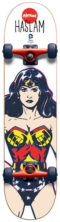 ALMOST Skateboard Complete HASLAM WONDER WOMAN 7.4 *MINI* youth DC COMICS #ALMOST