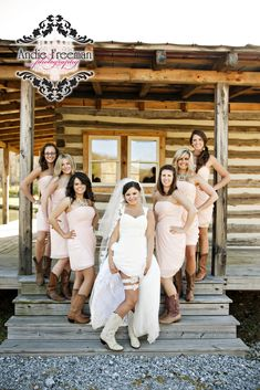 Country barn wedding bridal party portrait with cowboy boots. Photography: www.TheAthensWeddingPhotographer.com Planning, Floral, and Event Design: www.WildFlowerEventServices.com Venue: Dillard, Ga