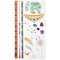 SheIn(sheinside) Dandelion & Elephant Tattoo Sticker ($4) ❤ liked on Polyvore featuring accessories, body art and multicolor