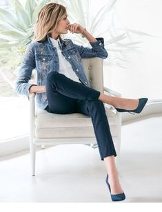 I like this outfit a lot! And those shoes! Women's Embroidered Denim Jacket by White House Black Market Mode Outfits, Casual Outfits, Fashion Outfits, Skirt Outfits, Modest Fashion, Fashion Ideas, Fashion Mode, Work Fashion, Emo Fashion