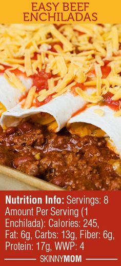 These Easy Beef Enchiladas are a GREAT Mexican dish your whole family will drool over!! Less than 250 calories per serving and ONLY 4 WWP! A MUST SHARE!