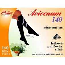 140 DEN support socks AVICENUM 140 belong to their pressure into the 1st compression class. They have a reinforced heel. AVICENUM 140 reduces starting difficultiesvenous insufficiency. Moderate fatigue, heaviness and tension in the legs, swelling. Microcapsules Skintex continuously released extracts of grapefruit, lemon, peppermint and thyme.  140 DEN Lycra, composition 64% Nylon, 36% Lycra. The pressure at the ankle 15 to 21 mmHg. Buy on ACTIVtights.com