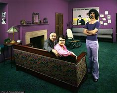In 1971, John Olson shot a series of photos for LIFE, featuring famous rock stars with their parents.  Here's the Zappa clan... Rosemarie and Francis and Frank.