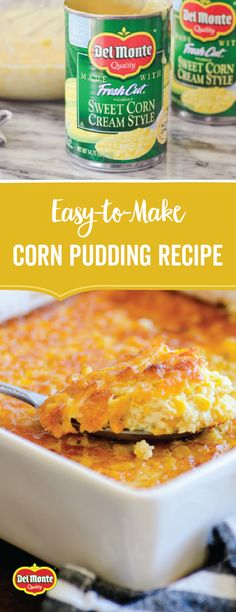 Serve up a Southern staple on your holiday table with this Easy Corn Pudding Recipe! Made with Del Monte® Cream Style Golden Sweet Corn, this quick, easy, and simple side dish is sure to please. Head to your local grocery store or Supercenter to pick up a Easy Corn Pudding, Corn Pudding Recipes, Sweet Corn Bread Pudding Recipe, Corn Pudding Crockpot, Vegan Cream Corn Recipe, Recipes With Corn, Sweet Corn Recipes, Thanksgiving Recipes, Holiday Recipes