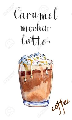 Picture of Glass of caramel latte coffee with whipped cream, watercolor, hand drawn - Illustration stock photo, images and stock photography. Ice Cream Illustration, Coffee Illustration, Illustration Art, Coffee Latte, Coffee Shop, Carmel Latte, Wipped Cream, Cream Paint, Coffee Painting