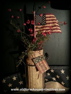 #PAJ3 Primitive Americana Flag In Jar With Metal Holder W/ Wood Handles (Made In USA)