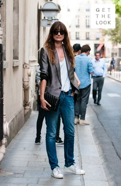 Model & music producer, Caroline De Maigret nails the perfect balance between masculine and feminine with a casual textured blazer, a plain white tee and a good old pair of boyfriend jeans. #LTinsider