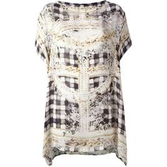 Balmain Black & Gold Printed Silk Dress Tunic (58,130 INR) ❤ liked on Polyvore featuring tops, tunics, dresses, white and gold, boatneck tunic, silk tunic, loose tops, floral tops and gold top