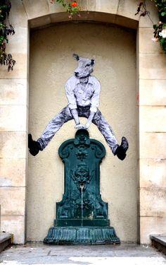 Jump urban art by Levalet graffiti street art 3d Street Art, Street Art Graffiti, Street Artists, Banksy, Sculptures, Lion Sculpture, Urbane Kunst, French Street, Outdoor Art