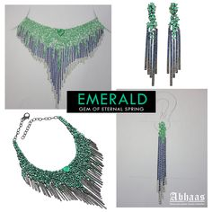Natural Emerald with flawless Diamonds in .925 Sterling Silver stud Necklace along with designer .925 sterling silver Emerald Diamond Drop Earrings Jewelry from Abhaas Jewels #Natural #Emerald #Necklace #Diamond #Sterling #Silver #Gemstone #Designer #Handmade #Handcrafted #Gift #Wedding #Anniversary #Online #Jewellery #Sale #Wholesale #Abhaasjewels Address: ABHAAS JEWELS CORP 7 West 45th Street, Suite-1501 New York, NY-10036 U.S.A Tel : 732-444-4466 Email : enquiry@abhaas.com Skype…