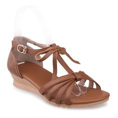 AmoonyFashion Women's Cow Leather Low-heels Open Toe Solid Buckle Wedges-Sandals * Learn more by visiting the image link.