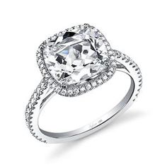 Sylvie Collection Halo White Gold Diamond Engagement Ring SY395