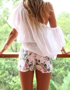 Floral cutoffs.