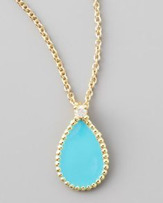 ROBERTO COIN JEWELRY NEIMAN MARCUS | Roberto Coin Yellow Gold Diamond Turquoise Teardrop Pendant Necklace $ ...