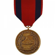 The First Nicaraguan Campaign Medal - Marine Corps is a decoration presented by the U.S. Navy to recognize members of the Navy and Marine Corps who served in amphibious actions in Nicaragua between the dates of July, 29 and November 14, 1912. Personnel who served on the following vessels are eligible for this award: USS Annapolis, USS California, USS Cleveland, USS Colorado, USS Denver, USS Glacier, USS Maryland and USS Tacoma.