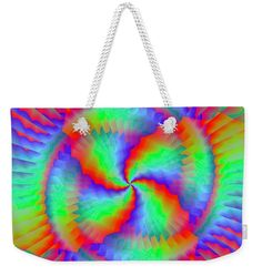"Rainbow swirl weekender tote bag Our weekender tote bags are chic and perfect for a day out on the town, a staycation, or a weekend getaway. The tote bag is crafted with soft, spun poly-poplin fabric and features double-stitched seams for added durability. The 1"" thick cotton handles are perfect for carrying the bag by hand or over your shoulder. Textile Tapestry, Rainbow Swirl, Weekender Tote, Weird Creatures, Cotton Rope, Staycation, Tag Art, Basic Colors, Poplin Fabric"