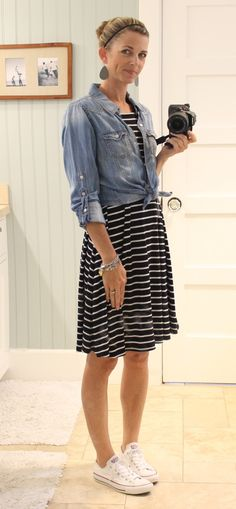 striped swing dress with chambray shirt tied at waist