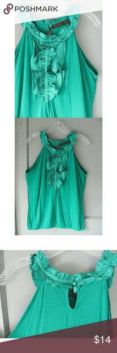 The Limited Green Ruffle Tank Top Keyhole Med Bright emerald green racer back sleeveless top/tank top from The Limited.  Worn a couple of times, excellent condition. Size Medium, true to size. Stretchy elastic at hips, gives blouse very flattering shape. Silky ruffle detail that won't wrinkle and buttoned keyhole on back. Wish this still fit me! Perfect work-to-night-out top. Please ask any questions before buying! Ships fast and with bonus gift ;) PLEASE keep in mind I don't make anything…