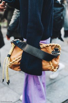 Chunky knit sweater with bell sleeves and turn that foldover tote into a handheld handbag