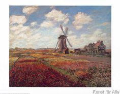Claude Monet - Tulip Fields with Windmill
