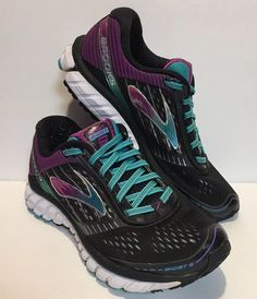Brooks Ghost 9 Black Purple Running Sneaker Womens Shoe Size 8 Wide (D)