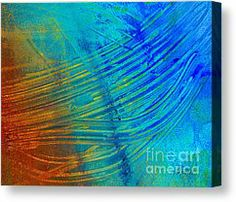 Blue And Orange Abstract Art Canvas Prints - Abstract Art  Painting Freefall by Ann Powell Canvas Print by Ann Powell