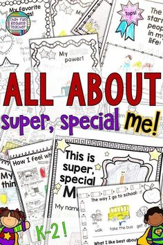 All about me - fun, no-prep printables for kindergarten, first grade, second grade students to share All About Me Activities, Back To School Activities, First Grade, Second Grade, All About Me Booklet, Classroom Labels Free, Kindergarten Lessons, Kindergarten Writing, New School Year