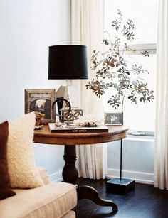 Cool Round Side Table With Black Lamp Shade Idea Feat Modern White Living Room Curtain Design