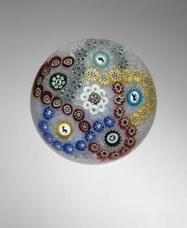 Baccarat Glassworks,  French, founded 1764, Magnum Patterned Millefiori Paperweight, 19th century. Art Institute of Chicago.