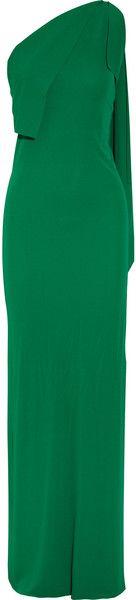 Roland Mouret Henleigh Oneshoulder Crepejersey Gown in Green | Lyst